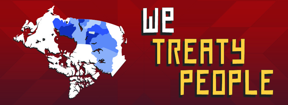 WE TREATY PEOPLE banner image with upside down Treaty Map of Canada